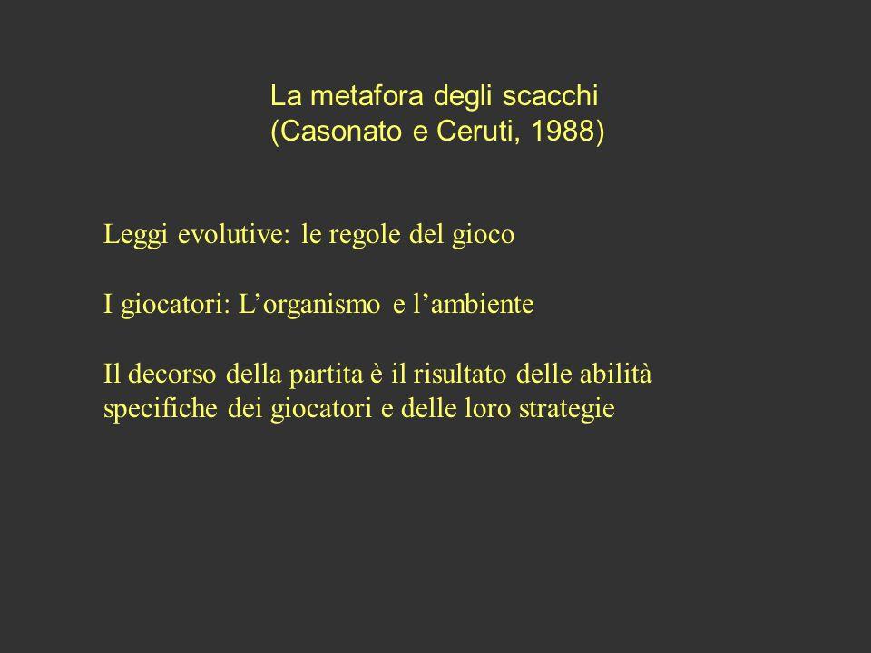 La metafora degli scacchi (Casonato e Ceruti, 1988) Leggi evolutive: le regole del gioco I giocatori: Lorganismo e lambiente Il decorso della partita