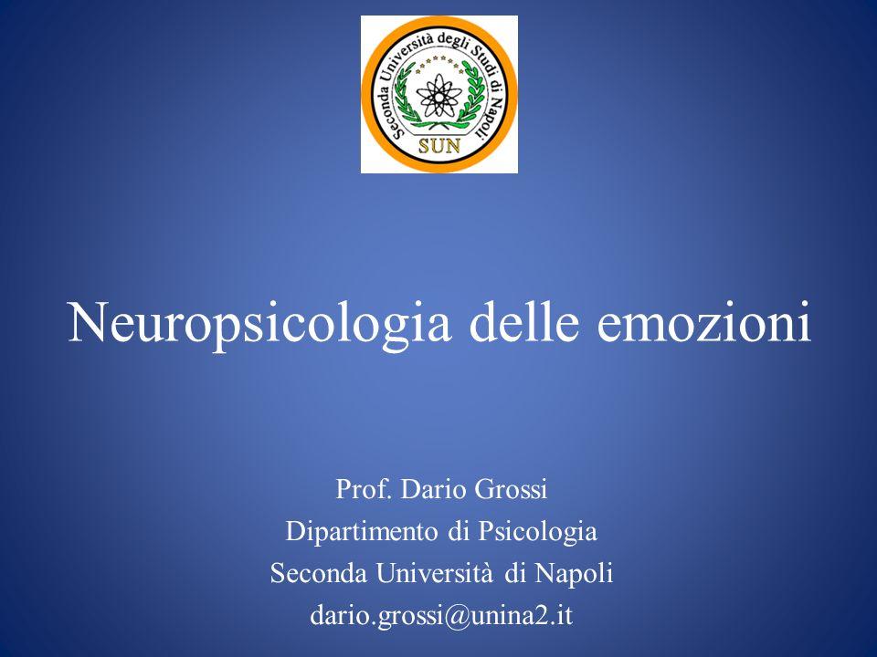Neuropsicologia delle emozioni Prof. Dario Grossi Dipartimento di Psicologia Seconda Università di Napoli dario.grossi@unina2.it