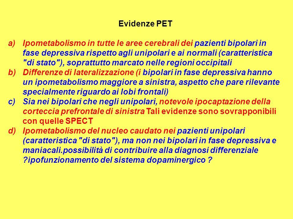 Evidenze PET a) Ipometabolismo in tutte le aree cerebrali dei pazienti bipolari in fase depressiva rispetto agli unipolari e ai normali (caratteristic