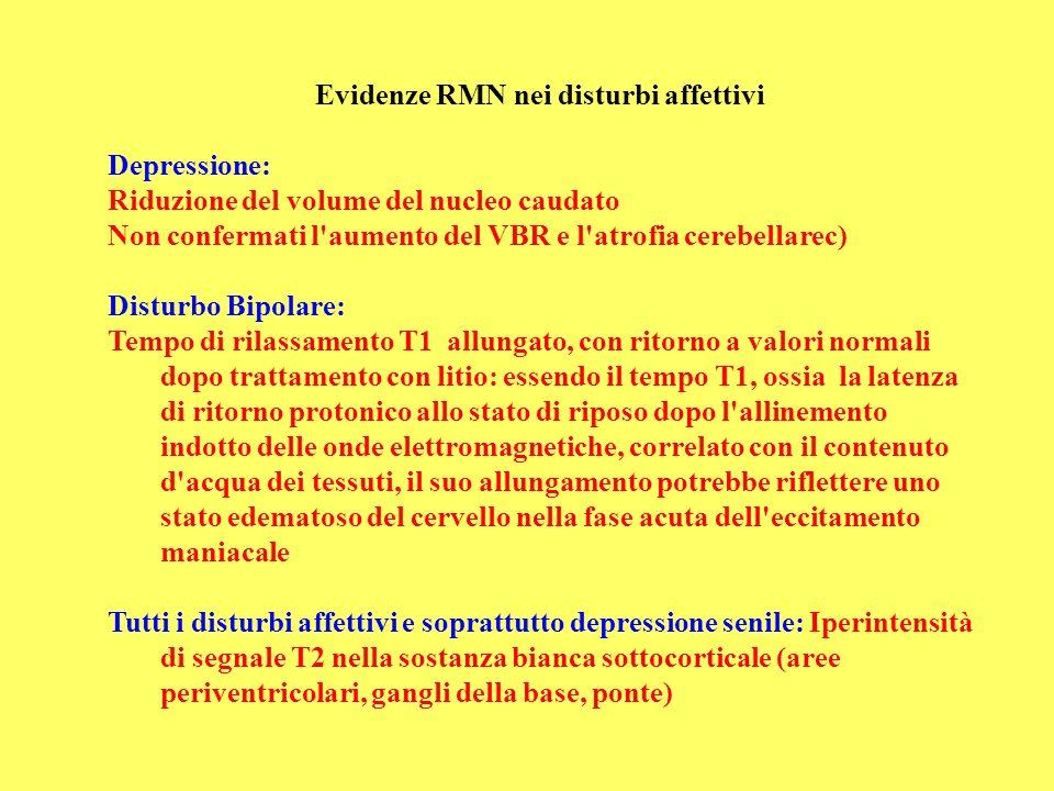 Evidenze RMN nei disturbi affettivi Depressione: Riduzione del volume del nucleo caudato Non confermati l'aumento del VBR e l'atrofia cerebellarec) Di