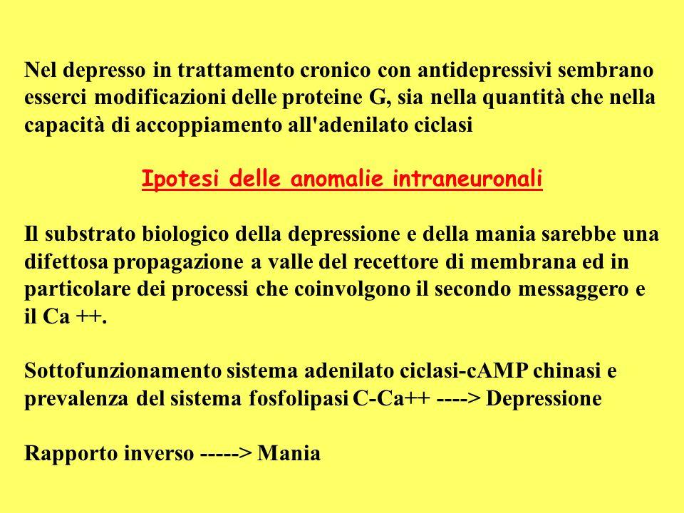 Nel depresso in trattamento cronico con antidepressivi sembrano esserci modificazioni delle proteine G, sia nella quantità che nella capacità di accop
