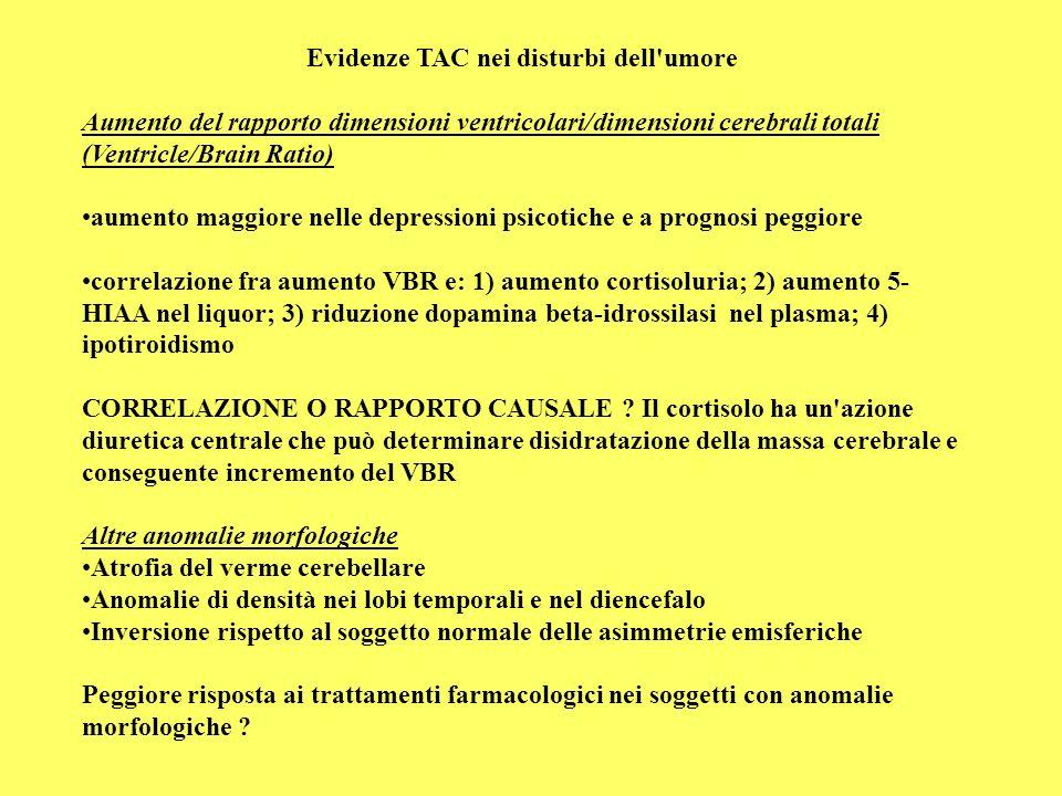 Evidenze TAC nei disturbi dell'umore Aumento del rapporto dimensioni ventricolari/dimensioni cerebrali totali (Ventricle/Brain Ratio) aumento maggiore