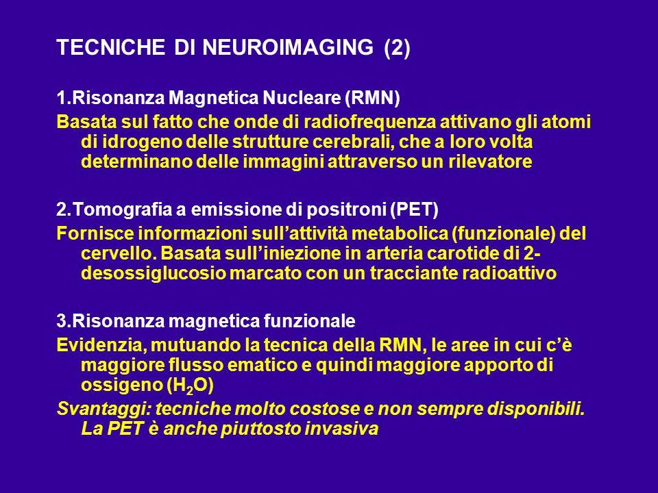 TECNICHE DI NEUROIMAGING (2) 1.Risonanza Magnetica Nucleare (RMN) Basata sul fatto che onde di radiofrequenza attivano gli atomi di idrogeno delle str