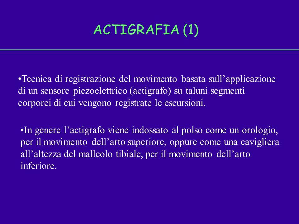 ACTIGRAFIA (1) Tecnica di registrazione del movimento basata sullapplicazione di un sensore piezoelettrico (actigrafo) su taluni segmenti corporei di