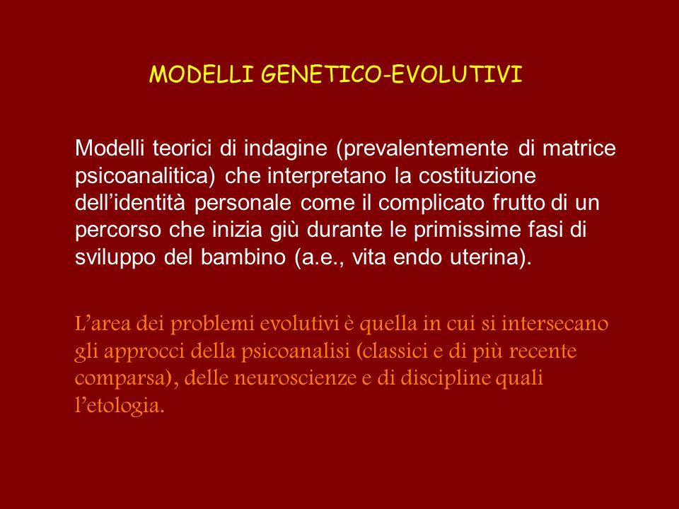 MODELLI GENETICO-EVOLUTIVI Modelli teorici di indagine (prevalentemente di matrice psicoanalitica) che interpretano la costituzione dellidentità perso