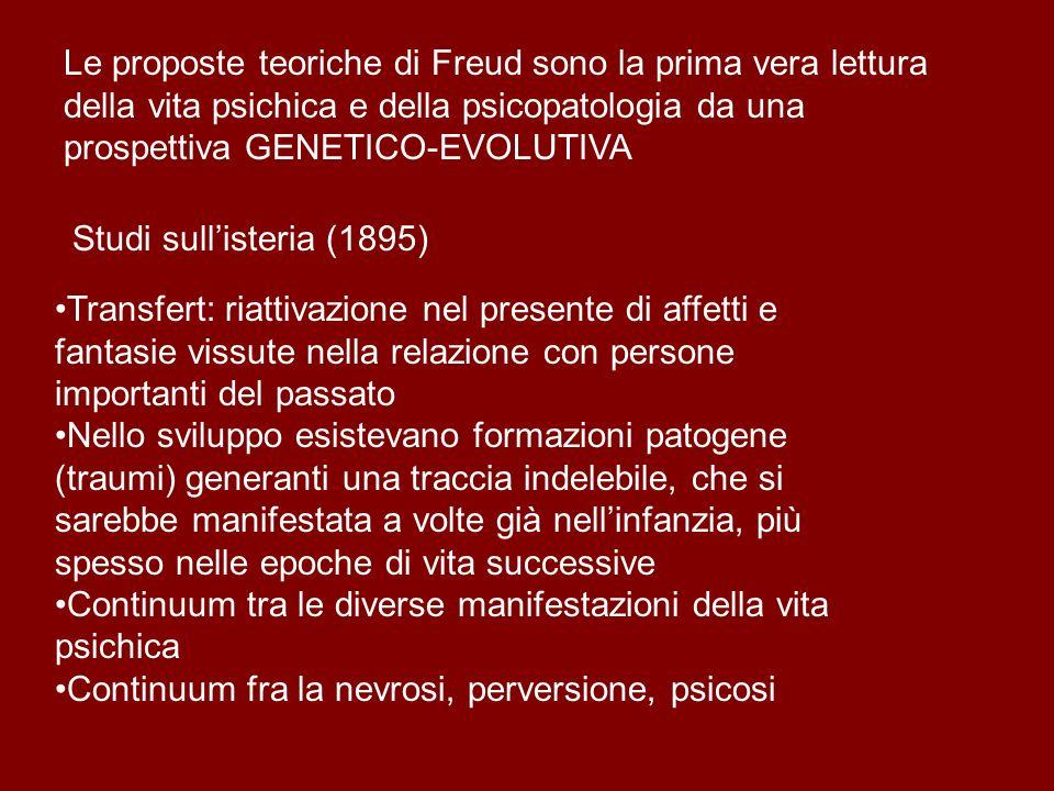 Le proposte teoriche di Freud sono la prima vera lettura della vita psichica e della psicopatologia da una prospettiva GENETICO-EVOLUTIVA Studi sullis