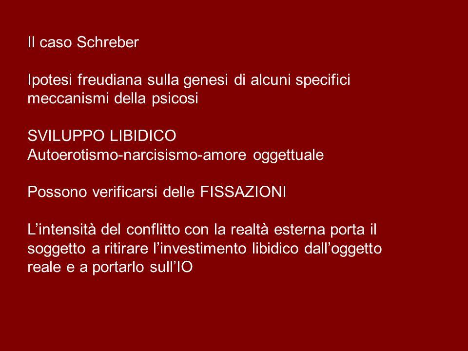 Il caso Schreber Ipotesi freudiana sulla genesi di alcuni specifici meccanismi della psicosi SVILUPPO LIBIDICO Autoerotismo-narcisismo-amore oggettual