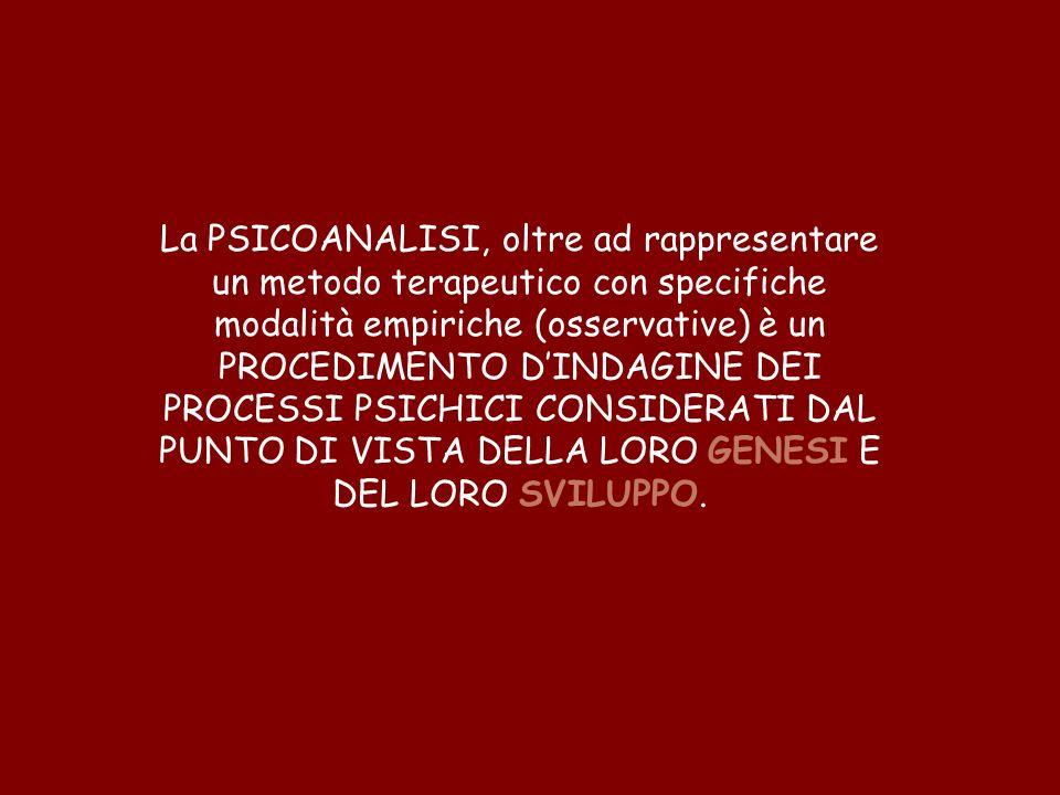 La PSICOANALISI, oltre ad rappresentare un metodo terapeutico con specifiche modalità empiriche (osservative) è un PROCEDIMENTO DINDAGINE DEI PROCESSI