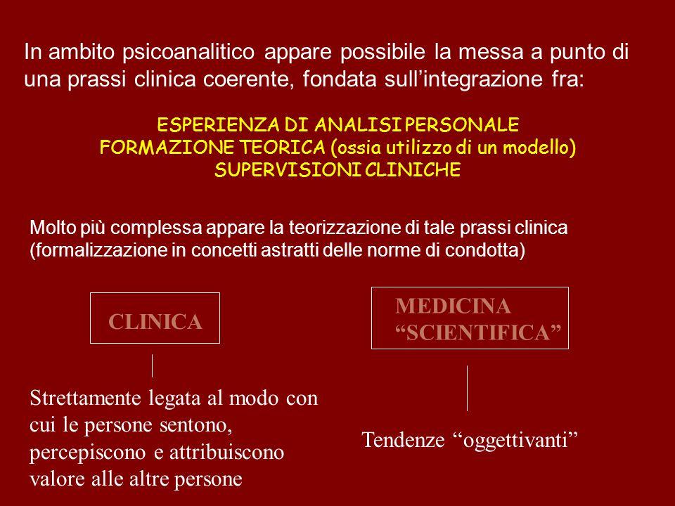In ambito psicoanalitico appare possibile la messa a punto di una prassi clinica coerente, fondata sullintegrazione fra: ESPERIENZA DI ANALISI PERSONA