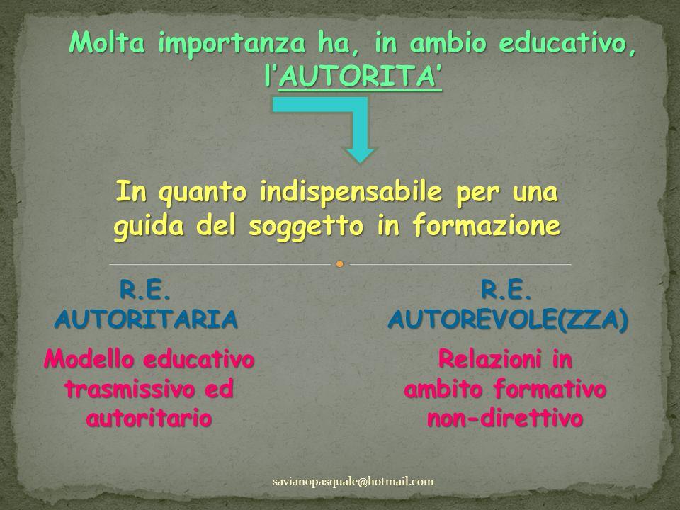 Molta importanza ha, in ambio educativo, lAUTORITA savianopasquale@hotmail.com In quanto indispensabile per una guida del soggetto in formazione R.E.A