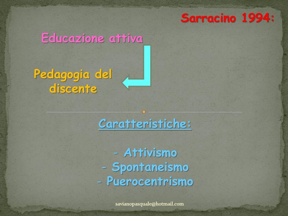 Sarracino 1994: savianopasquale@hotmail.com Educazione attiva Caratteristiche: - Attivismo - Spontaneismo - Puerocentrismo Pedagogia del discente