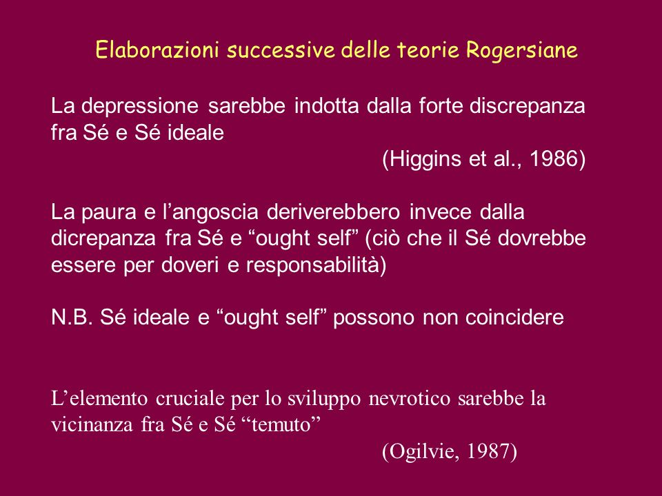 La depressione sarebbe indotta dalla forte discrepanza fra Sé e Sé ideale (Higgins et al., 1986) La paura e langoscia deriverebbero invece dalla dicre