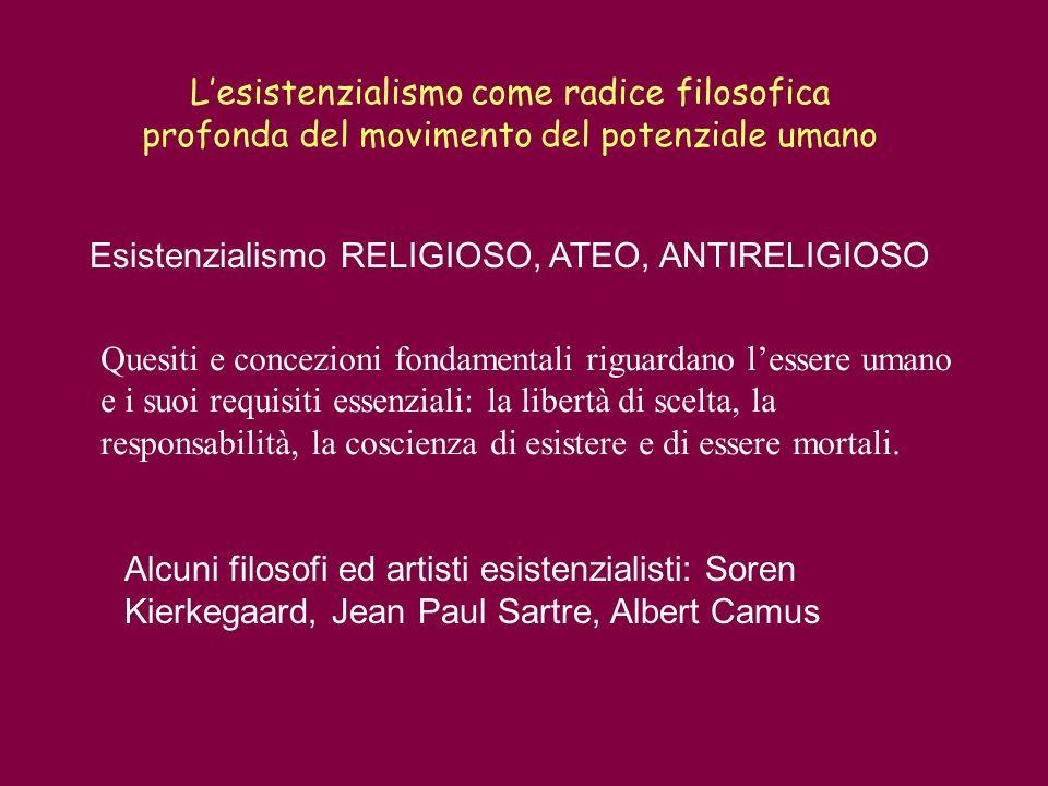 Lesistenzialismo come radice filosofica profonda del movimento del potenziale umano Alcuni filosofi ed artisti esistenzialisti: Soren Kierkegaard, Jea