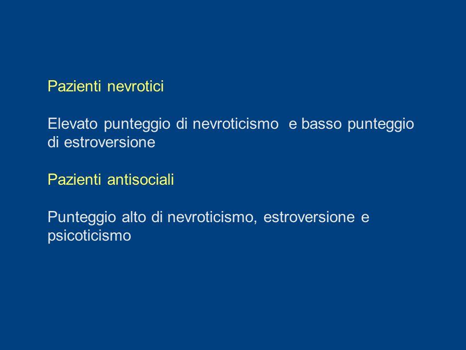 Pazienti nevrotici Elevato punteggio di nevroticismo e basso punteggio di estroversione Pazienti antisociali Punteggio alto di nevroticismo, estrovers