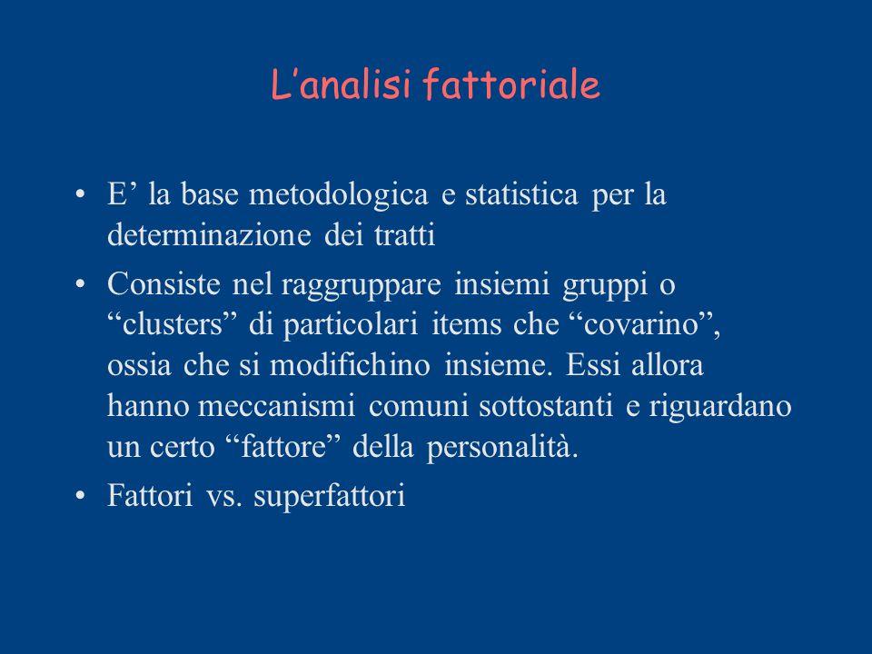 Lanalisi fattoriale E la base metodologica e statistica per la determinazione dei tratti Consiste nel raggruppare insiemi gruppi o clusters di partico