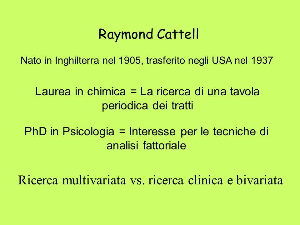 Raymond Cattell Laurea in chimica = La ricerca di una tavola periodica dei tratti Ricerca multivariata vs. ricerca clinica e bivariata Nato in Inghilt