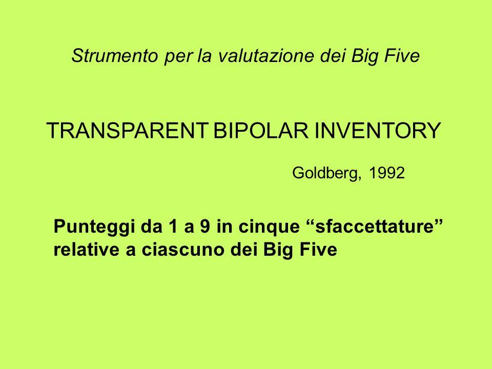 Strumento per la valutazione dei Big Five TRANSPARENT BIPOLAR INVENTORY Goldberg, 1992 Punteggi da 1 a 9 in cinque sfaccettature relative a ciascuno d