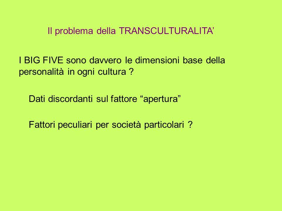 Il problema della TRANSCULTURALITA I BIG FIVE sono davvero le dimensioni base della personalità in ogni cultura ? Dati discordanti sul fattore apertur
