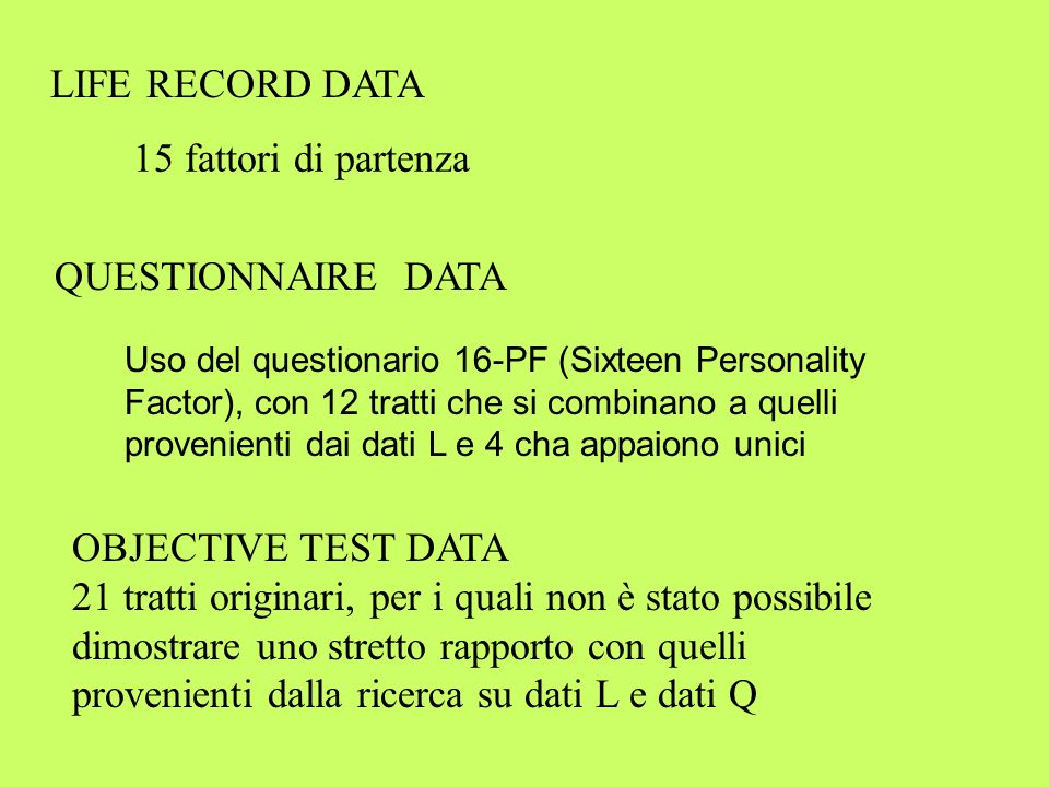 Ricerca sui dati OT Costruzione di situazioni sperimentali miniaturizzate allo scopo di sviluppare test obiettivi che potessero misurare i tratti originari già individuati con la ricerca su dati L e Q.