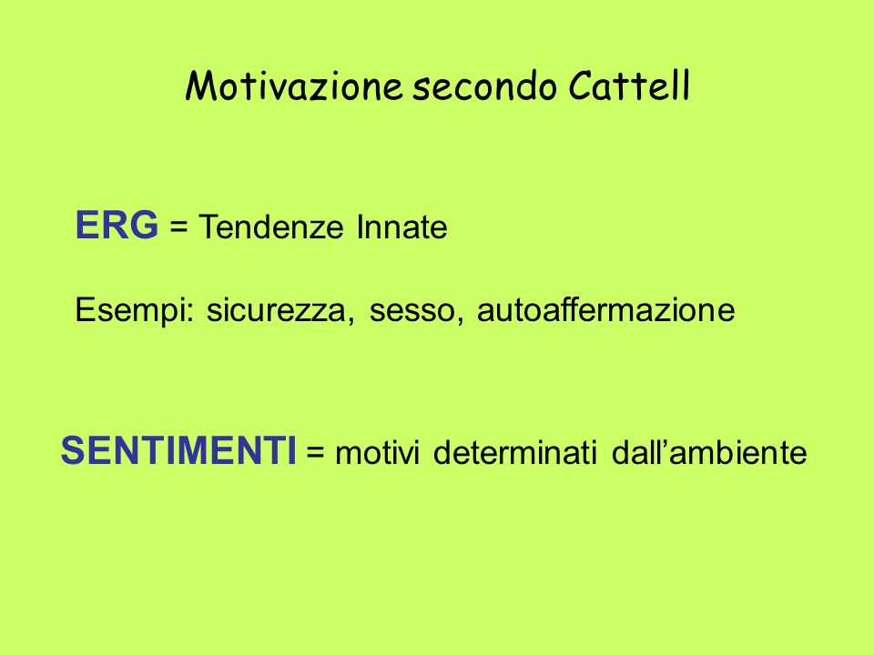 Motivazione secondo Cattell ERG = Tendenze Innate Esempi: sicurezza, sesso, autoaffermazione SENTIMENTI = motivi determinati dallambiente