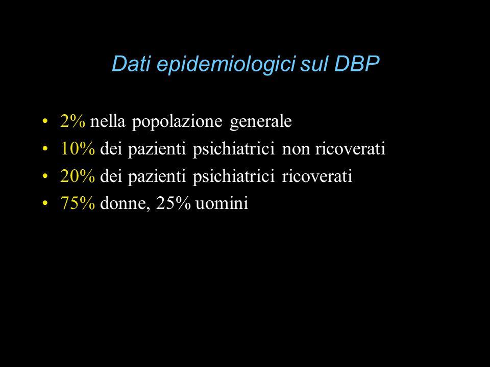 Dati epidemiologici sul DBP 2% nella popolazione generale 10% dei pazienti psichiatrici non ricoverati 20% dei pazienti psichiatrici ricoverati 75% do