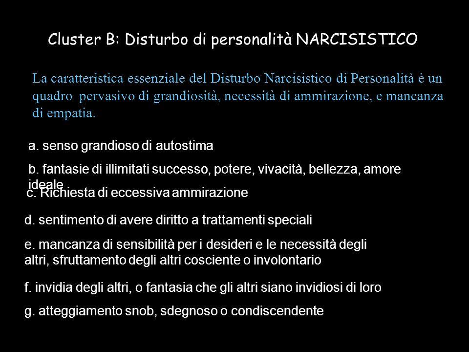 La caratteristica essenziale del Disturbo Narcisistico di Personalità è un quadro pervasivo di grandiosità, necessità di ammirazione, e mancanza di em