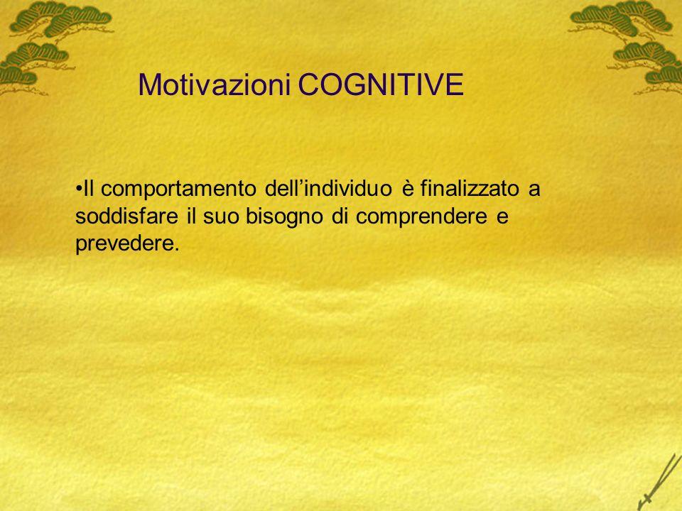 Motivazioni COGNITIVE Il comportamento dellindividuo è finalizzato a soddisfare il suo bisogno di comprendere e prevedere.