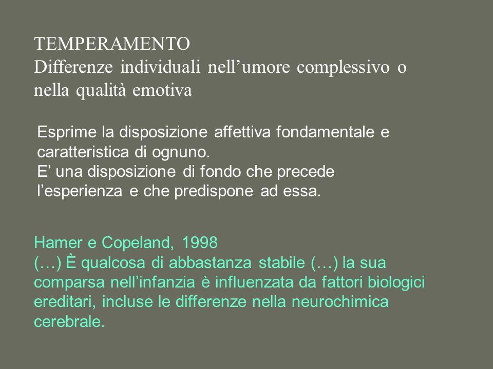 TEMPERAMENTO Differenze individuali nellumore complessivo o nella qualità emotiva Hamer e Copeland, 1998 (…) È qualcosa di abbastanza stabile (…) la sua comparsa nellinfanzia è influenzata da fattori biologici ereditari, incluse le differenze nella neurochimica cerebrale.