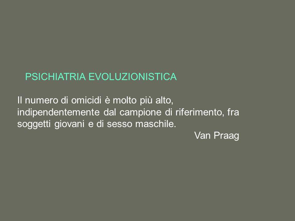 PSICHIATRIA EVOLUZIONISTICA Il numero di omicidi è molto più alto, indipendentemente dal campione di riferimento, fra soggetti giovani e di sesso maschile.