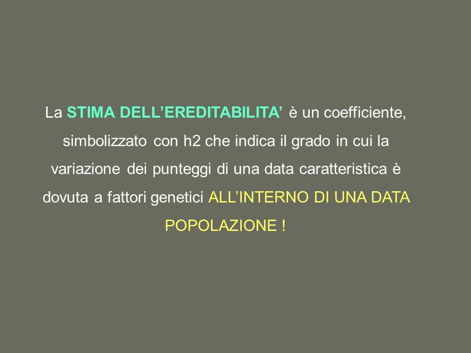 La STIMA DELLEREDITABILITA è un coefficiente, simbolizzato con h2 che indica il grado in cui la variazione dei punteggi di una data caratteristica è dovuta a fattori genetici ALLINTERNO DI UNA DATA POPOLAZIONE !