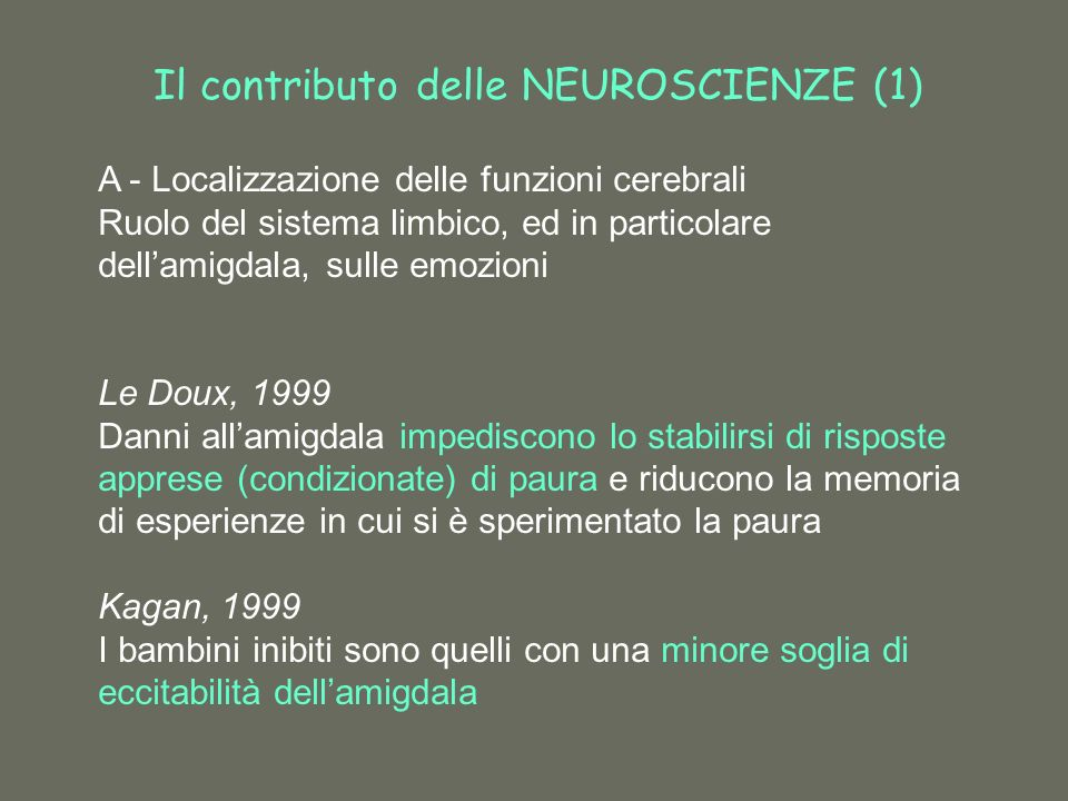Il contributo delle NEUROSCIENZE (1) A - Localizzazione delle funzioni cerebrali Ruolo del sistema limbico, ed in particolare dellamigdala, sulle emozioni Le Doux, 1999 Danni allamigdala impediscono lo stabilirsi di risposte apprese (condizionate) di paura e riducono la memoria di esperienze in cui si è sperimentato la paura Kagan, 1999 I bambini inibiti sono quelli con una minore soglia di eccitabilità dellamigdala