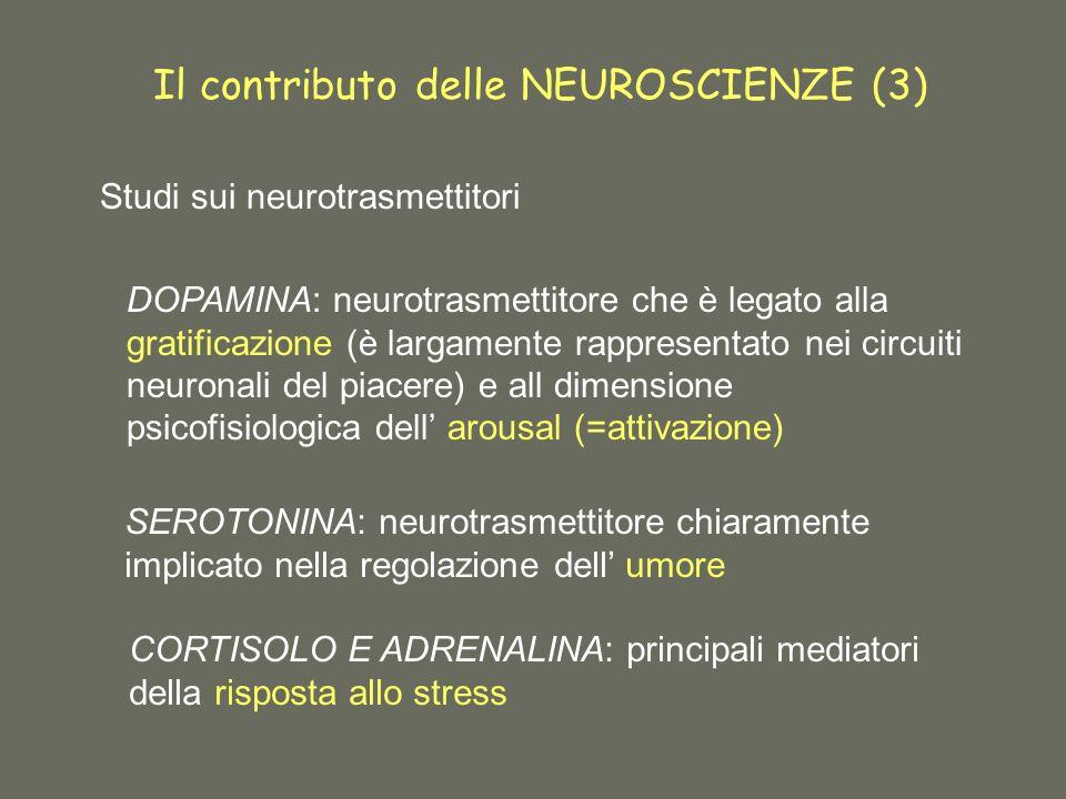 Il contributo delle NEUROSCIENZE (3) Studi sui neurotrasmettitori DOPAMINA: neurotrasmettitore che è legato alla gratificazione (è largamente rappresentato nei circuiti neuronali del piacere) e all dimensione psicofisiologica dell arousal (=attivazione) SEROTONINA: neurotrasmettitore chiaramente implicato nella regolazione dell umore CORTISOLO E ADRENALINA: principali mediatori della risposta allo stress