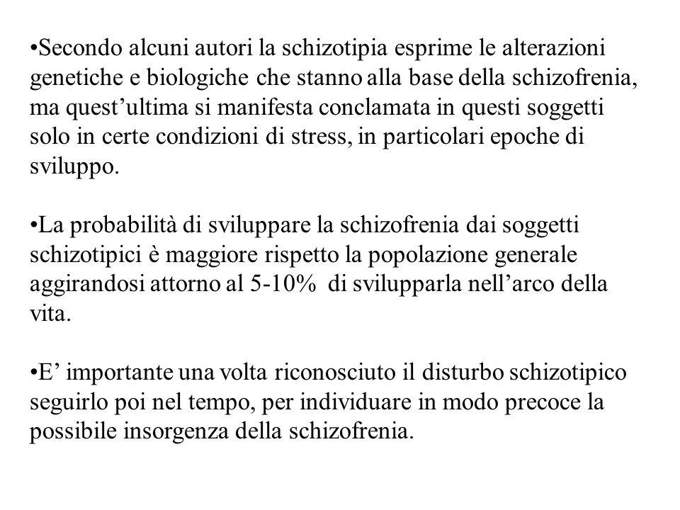 Secondo alcuni autori la schizotipia esprime le alterazioni genetiche e biologiche che stanno alla base della schizofrenia, ma questultima si manifest