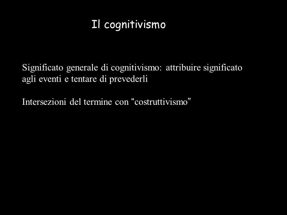 Significato generale di cognitivismo: attribuire significato agli eventi e tentare di prevederli Intersezioni del termine con costruttivismo Il cognitivismo