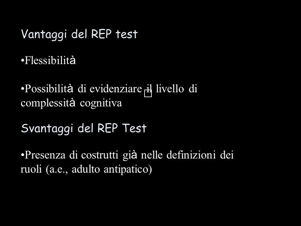 Vantaggi del REP test Flessibilit à Possibilit à di evidenziare il livello di complessit à cognitiva Svantaggi del REP Test Presenza di costrutti gi à nelle definizioni dei ruoli (a.e., adulto antipatico)