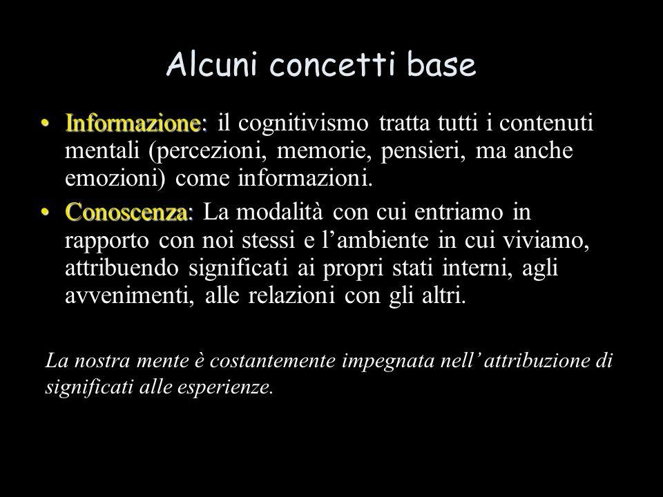 Alcuni concetti base Informazione:Informazione: il cognitivismo tratta tutti i contenuti mentali (percezioni, memorie, pensieri, ma anche emozioni) come informazioni.
