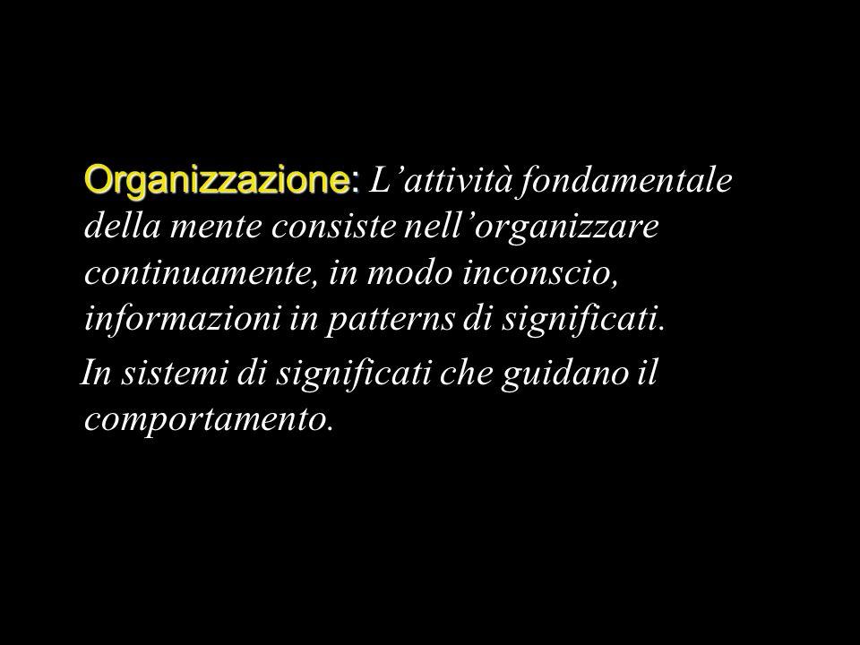 Organizzazione: Organizzazione: Lattività fondamentale della mente consiste nellorganizzare continuamente, in modo inconscio, informazioni in patterns di significati.