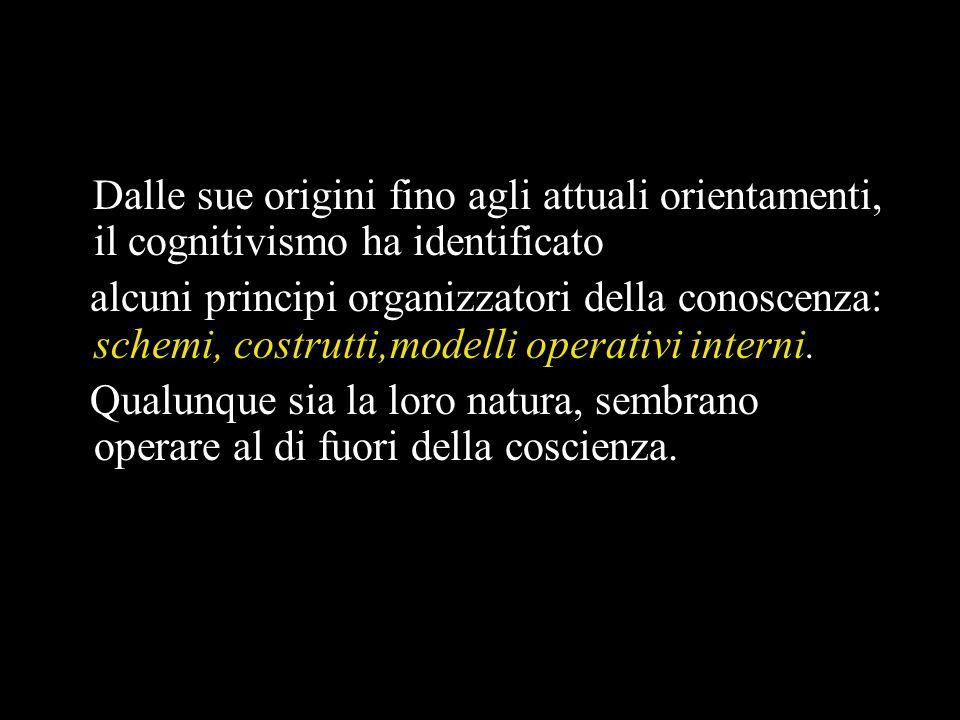 Dalle sue origini fino agli attuali orientamenti, il cognitivismo ha identificato alcuni principi organizzatori della conoscenza: schemi, costrutti,modelli operativi interni.