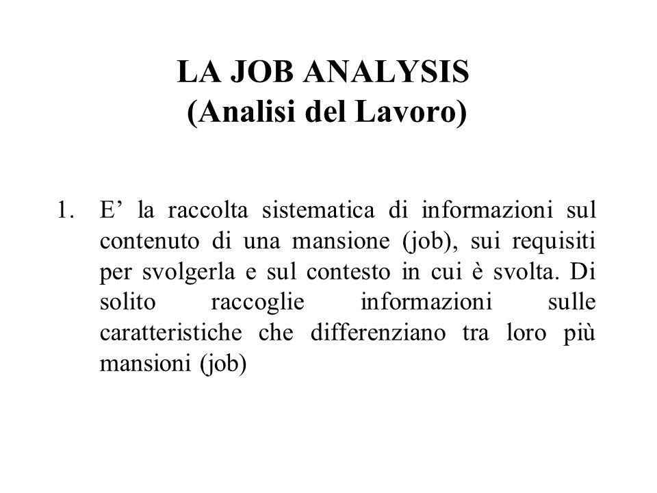 LA JOB ANALYSIS (Analisi del Lavoro) 1.E la raccolta sistematica di informazioni sul contenuto di una mansione (job), sui requisiti per svolgerla e su
