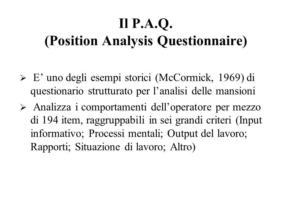 Il P.A.Q. (Position Analysis Questionnaire) E uno degli esempi storici (McCormick, 1969) di questionario strutturato per lanalisi delle mansioni Anali