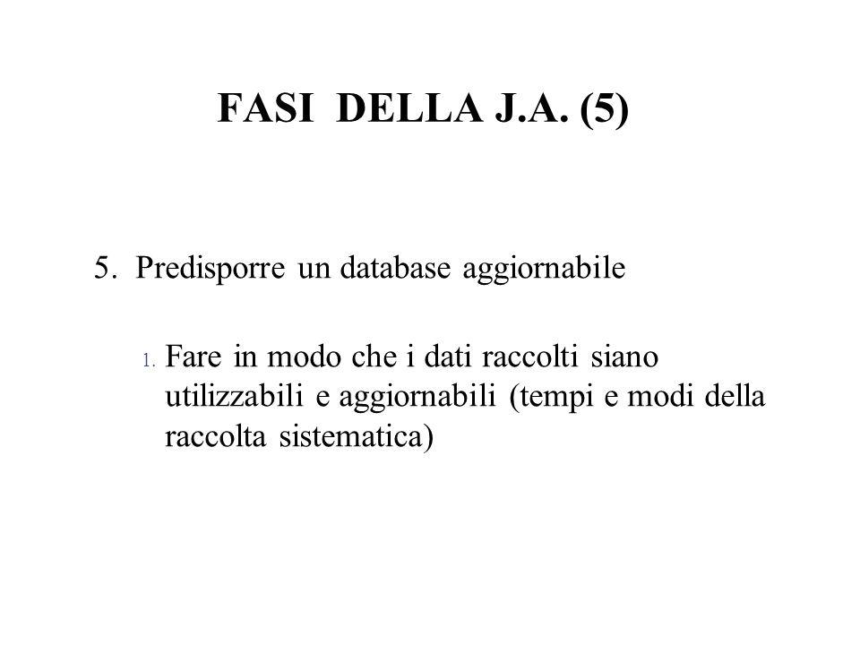 FASI DELLA J.A. (5) 5. Predisporre un database aggiornabile 1. Fare in modo che i dati raccolti siano utilizzabili e aggiornabili (tempi e modi della