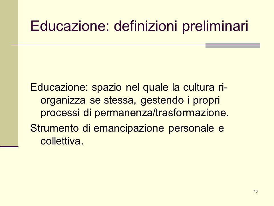 10 Educazione: definizioni preliminari Educazione: spazio nel quale la cultura ri- organizza se stessa, gestendo i propri processi di permanenza/trasf