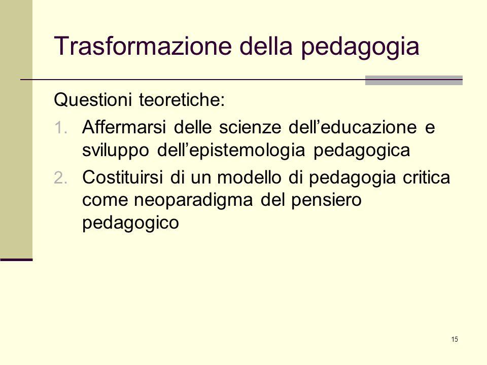 15 Trasformazione della pedagogia Questioni teoretiche: 1. Affermarsi delle scienze delleducazione e sviluppo dellepistemologia pedagogica 2. Costitui