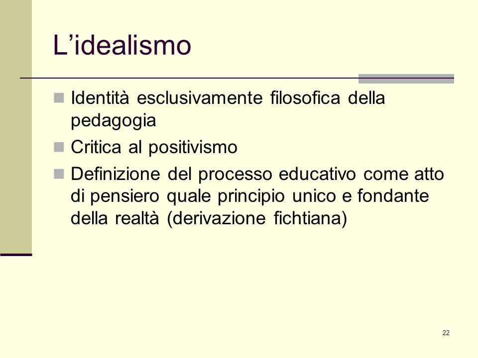 22 Lidealismo Identità esclusivamente filosofica della pedagogia Critica al positivismo Definizione del processo educativo come atto di pensiero quale