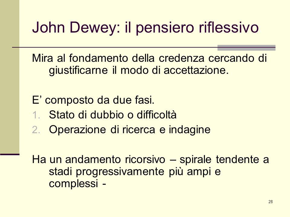 28 John Dewey: il pensiero riflessivo Mira al fondamento della credenza cercando di giustificarne il modo di accettazione. E composto da due fasi. 1.