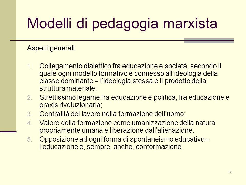 37 Modelli di pedagogia marxista Aspetti generali: 1. Collegamento dialettico fra educazione e società, secondo il quale ogni modello formativo è conn