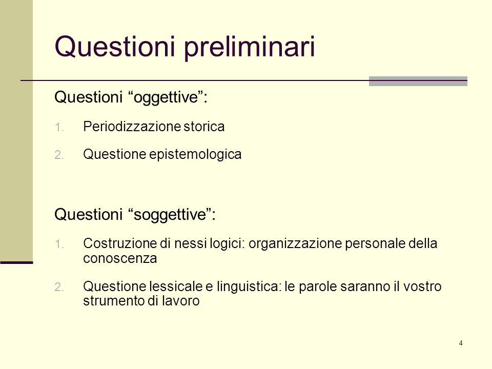 4 Questioni preliminari Questioni oggettive: 1. Periodizzazione storica 2. Questione epistemologica Questioni soggettive: 1. Costruzione di nessi logi