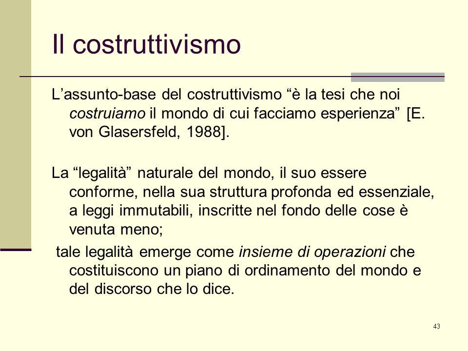 43 Il costruttivismo Lassunto-base del costruttivismo è la tesi che noi costruiamo il mondo di cui facciamo esperienza [E. von Glasersfeld, 1988]. La