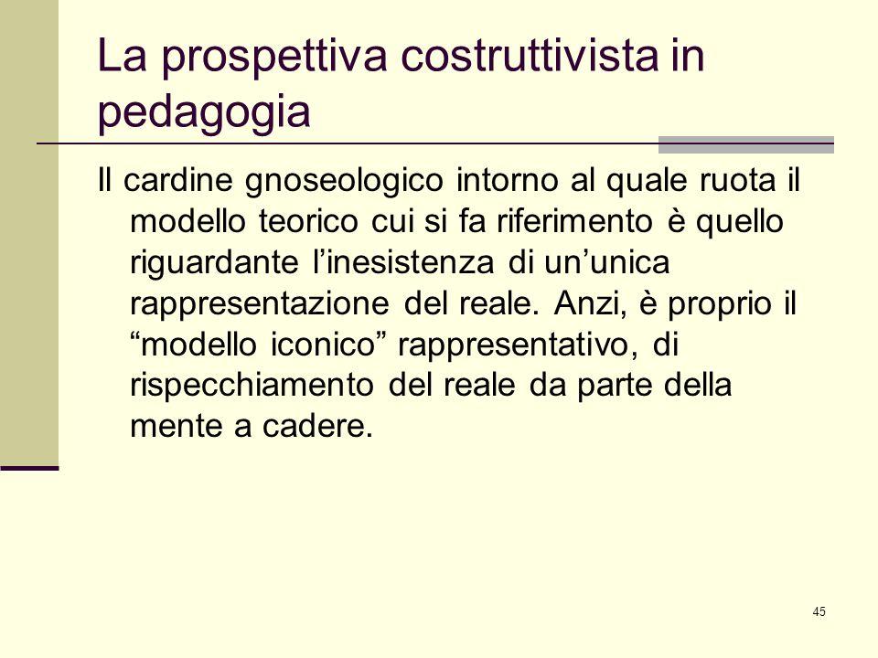 45 La prospettiva costruttivista in pedagogia Il cardine gnoseologico intorno al quale ruota il modello teorico cui si fa riferimento è quello riguard