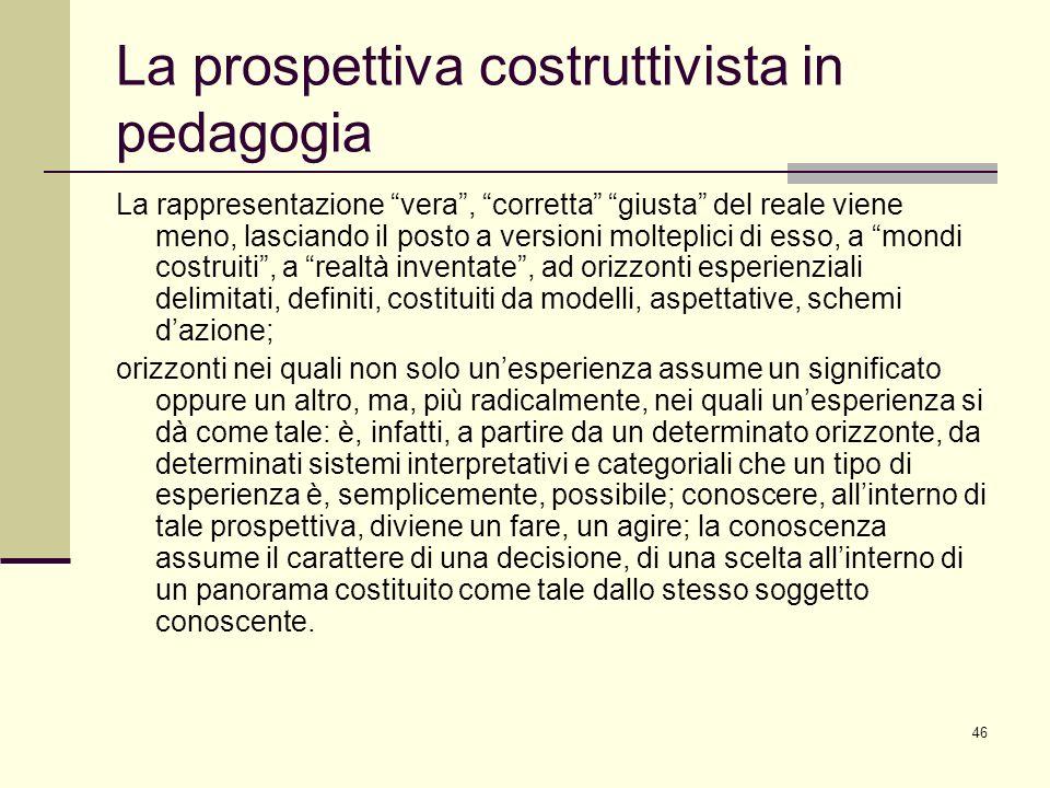 46 La prospettiva costruttivista in pedagogia La rappresentazione vera, corretta giusta del reale viene meno, lasciando il posto a versioni molteplici